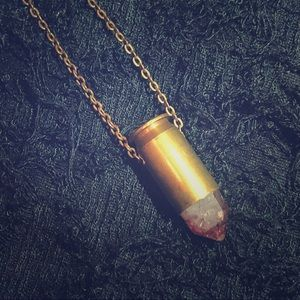 Fire Quartz Crystal Bullet Necklace